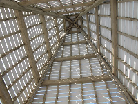 Looking up in the tower.