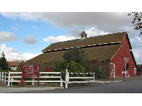 The entrance to the ranch, by the red barn.