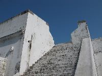 Looking up the stairs of the Spanish fort.