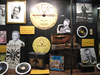 Exhibit about Sun Studio artists like Ike Turner and Rufus Thomas.