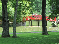 Red bridge in the Asian garden.
