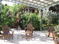 Adirondack chairs and hanging plants.