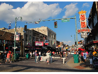Where Beale Street is blocked off to become a pedestrian-only street.