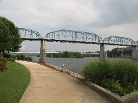 The Walnut Street Bridge, as seen from Coolidge Park.