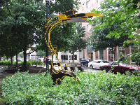 The art in Krutch Park is modern geometric sculptures.