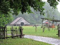 Rainy day at the Mountain Farm Museum.