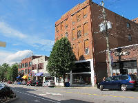 The architecture is utilitarian in the downtown Asheville commercial streets.