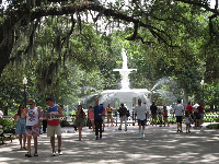 Canopy of trees and fountain in Forsyth Park.