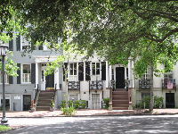 Townhouses in Savannah at Monterey Square.