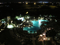 The pool at night, as seen from above.