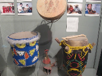 Haitian Manman drum, Trinidadian Tassa drum, and Bahamian Tom Tom and Cowbells.