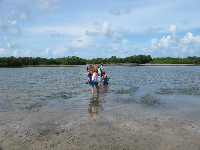 Beachgoers try to cross the waterway to get to the beach.