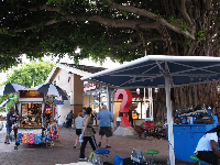 Stalls under the banyan tree, in the early evening.