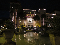 Casa Monica, as seen from fountain in front of the Lightner Museum, at Christmas time.