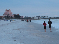 Jogging toward the Don Cesar Hotel.