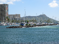 Patch of pretty-colored water, and Diamond Head.