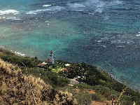 View of cute Diamond Head lighthouse.