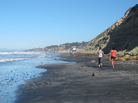 Runners enjoy a Saturday morning at the beach.