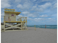 Yellow lifeguard shack.