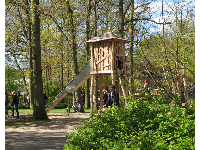 Wooden tower at the playground.