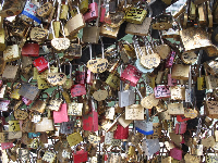 Lovers' locks, on Pont Neuf.