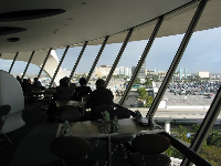 View of the airport from the slanted restaurant windows.