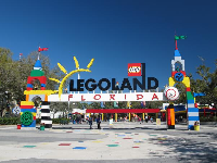 The colorful entrance to Legoland.