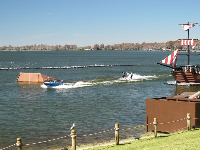 View of the water ski show.