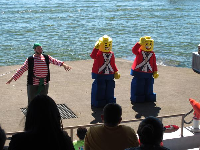 Lego characters in the pirate show.