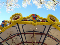 Looking up at the two-storey carousel.