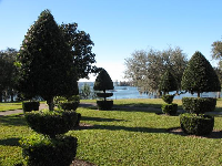 Cute topiaries by the lake.