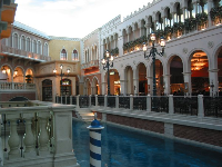 A restaurant alongside the canal, indoors at the Shopping area in the Venetian.