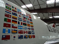 Flags painted on an US Air Force jet.