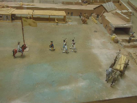 Little horse and flag, in the model of the fort.