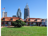 View of the tall buildings in Mobile, from the courtyard.