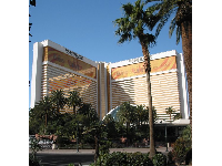 The gorgeous buildings of the Mirage, decorated for the Cirque du Soleil Beatles Show, Love.