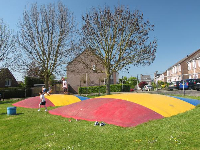 Colorful trampolines!