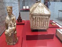 Ivory box and statue.