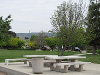 Picnic tables at De Vaul Park.