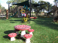 The mushroom picnic table.