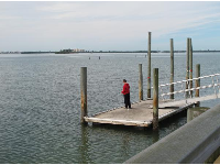 A boy goes fishing from a dock on the pier.