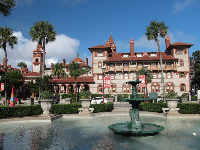 View of Flagler College from the front grounds of the Lightner Museum.