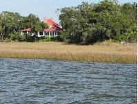 Marshy shoreline and a home on Cumberland Island.