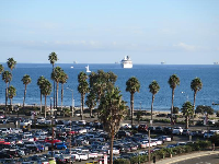 Cruise ship, ocean, and palm trees, by the parking lot!