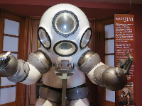 A one-person atmospheric diving suit, used in oil industry projects.