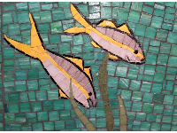 Detail on the mosaic tile art in the kids area.