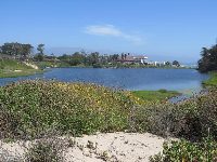The lagoon, Marine Studies building, and Goleta Beach in the distance.