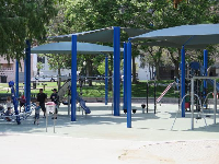 Swings, stepping stones, space net spinner, slanted gymnastics poles, monkey bars, curved ladder, and large slide.