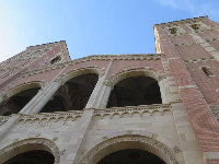 Looking up at Royce Hall.