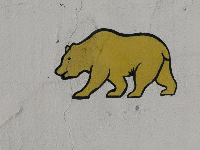 California bear painted on the wall. I love this guy.
